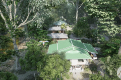 Aerial view, the homes are integrated with nature